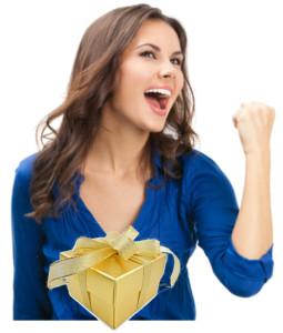 Bild Frau mit Goldpaket